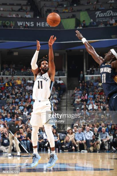 Mike Conley of the Memphis Grizzlies shoots the ball against the New Orleans Pelicans during the 201718 regular season game on October 18 2017 at...