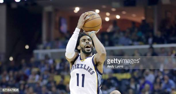 Mike Conley of the Memphis Grizzlies shoots the ball against the San Antonio Spurs in game four of the Western Conference Quarterfinals during the...