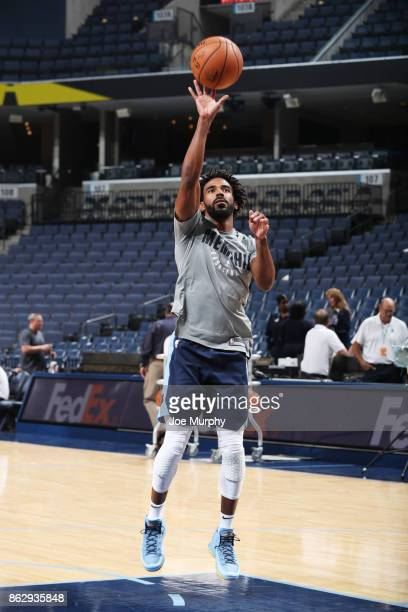 Mike Conley of the Memphis Grizzlies shoots the ball before the 201718 regular season game against the New Orleans Pelicans on October 18 2017 at...