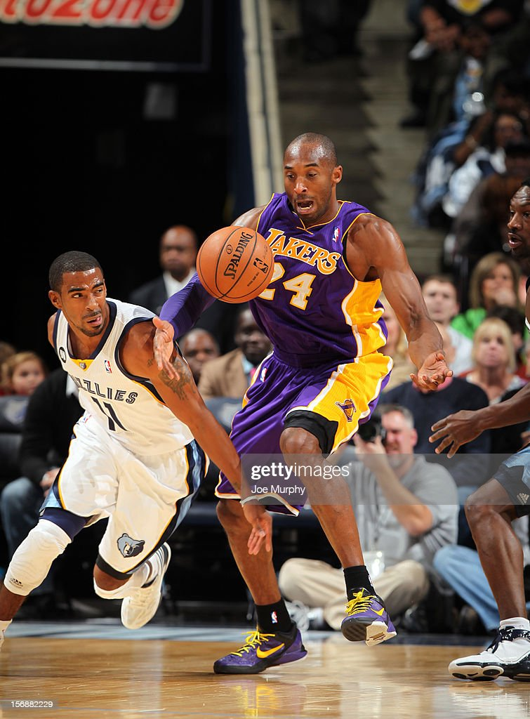 Mike Conley #11 of the Memphis Grizzlies steals the ball from Kobe Bryant #24 of the Los Angeles Lakers on November 23, 2012 at FedExForum in Memphis, Tennessee.