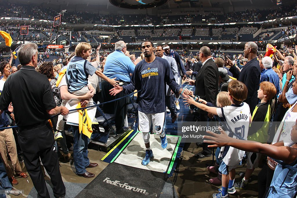 Mike Conley #11 of the Memphis Grizzlies walks off the court after the game against the Los Angeles Clippers in Game Four of the Western Conference Quarterfinals during the 2013 NBA Playoffs on April 27, 2013 at FedExForum in Memphis, Tennessee.