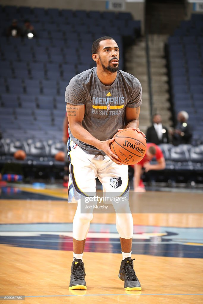 Mike Conley #11 of the Memphis Grizzlies warms up before the game against the Portland Trail Blazers on February 8, 2016 at FedExForum in Memphis, Tennessee.