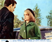 Mike Connors standing before Joey Heatherton in a scene from the film 'Where Love Has Gone' 1964