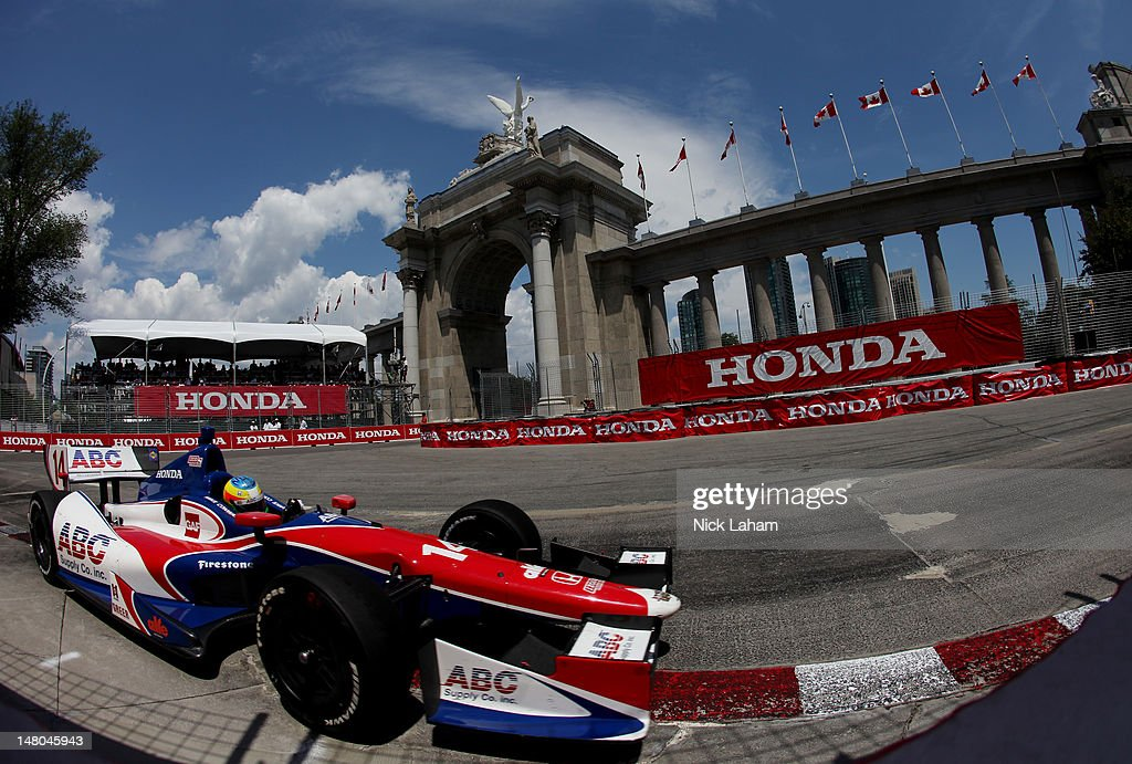 Mike Conway of England, drives the ABC Supply Co./A.J. Foyt Racing Honda during the IZOD INDYCAR Series Honda Indy Toronto on July 8, 2012 in Toronto, Canada.