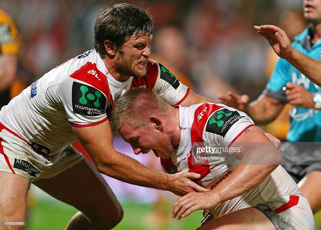 Mike Cooper of the Dragons celebrates his try with team mate Mitch Rein during the round seven NRL match between the St George Illawarra Dragons and the Brisbane Broncos at WIN Jubilee Stadium on April 17, 2015 in Sydney, Australia.