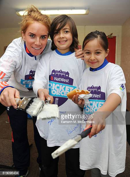 Mike Cricketer Lauren Winfield lends a hand as part of NatWest CricketForce 2016 Bedford CC on April 3 2016 in Bedford England