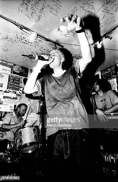 Mike D Money Mark and AdRock of the Beastie Boys perform at a secret gig in the basement of Slam City Skates shop Covent Garden London United Kingdom...
