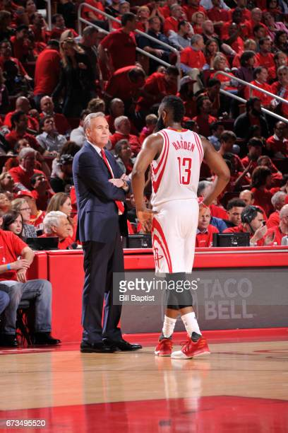 Mike D'Antoni and James Harden of the Houston Rockets talk against the Oklahoma City Thunder in Game Five of the Western Conference Quarterfinals of...