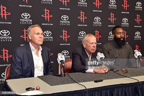 Mike D'Antoni and Leslie Alexander announces James Harden of the Houston Rockets new contract during a press conference on July 09 2016 at Toyota...