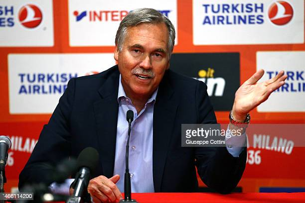 Mike D'Antoni during the press conference before Turkish Airlines Euroleague Basketball Top 16 Date 10 game between EA7 Emporio Armani Milan v...