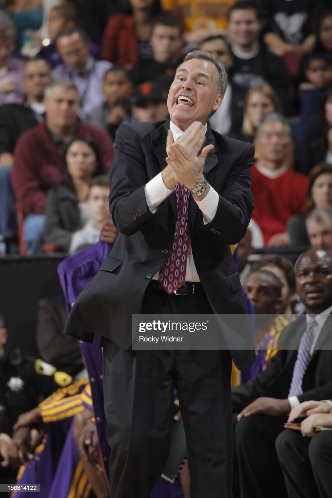 Mike D'Antoni, head coach of the Los Angeles Lakers. calls a play from the sideline against the Sacramento Kings on November 21, 2012 at Sleep Train Arena in Sacramento, California.