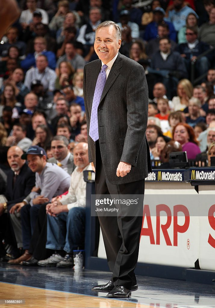 Mike D'Antoni head coach of the Los Angeles Lakers coaches during a game against the Memphis Grizzlies on November 23, 2012 at FedExForum in Memphis, Tennessee.