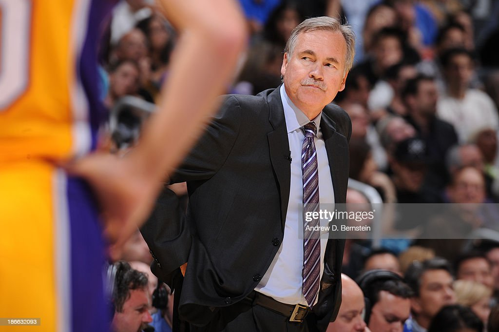 <a gi-track='captionPersonalityLinkClicked' href=/galleries/search?phrase=Mike+D%27Antoni&family=editorial&specificpeople=203175 ng-click='$event.stopPropagation()'>Mike D'Antoni</a>, Head Coach of the Los Angeles Lakers during a game against the San Antonio Spurs on November 1, 2013 at STAPLES Center in Los Angeles, California.