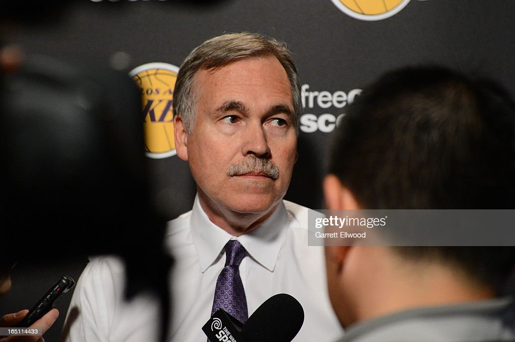 Mike D'Antoni head coach of the Los Angeles Lakers meets with the local media before taking on the Sacramento Kings on March 30, 2013 at Sleep Train Arena in Sacramento, California.