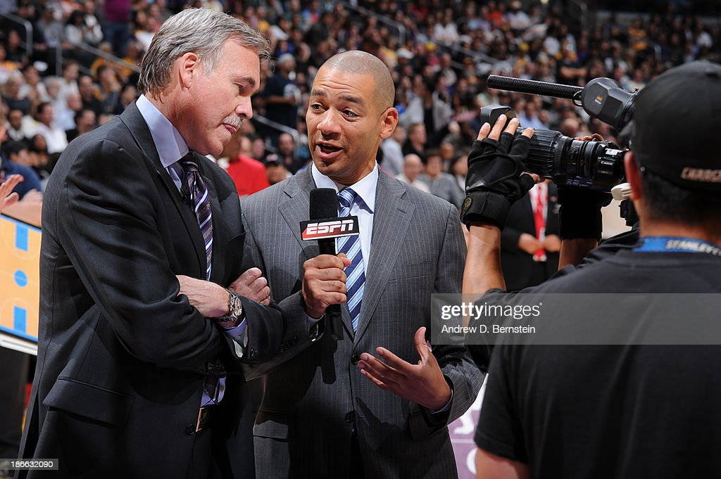 <a gi-track='captionPersonalityLinkClicked' href=/galleries/search?phrase=Mike+D%27Antoni&family=editorial&specificpeople=203175 ng-click='$event.stopPropagation()'>Mike D'Antoni</a>, Head Coach of the Los Angeles Lakers speaks to ESPN during a timeout during a game against the San Antonio Spurs on November 1, 2013 at STAPLES Center in Los Angeles, California.