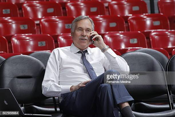 Mike D'Antoni head coach of the Philadelphia 76ers gets ready to take on the Sacramento Kings at Sleep Train Arena on December 30 2015 in Sacramento...