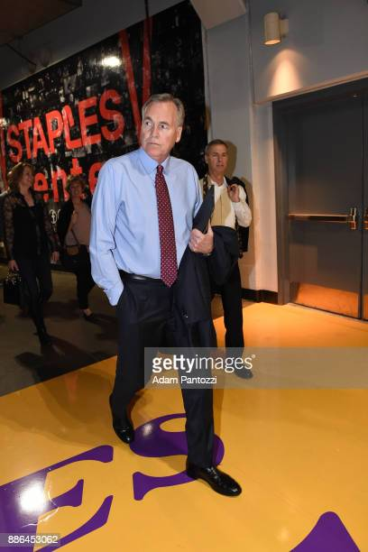 Mike D'Antoni of the Houston Rockets arrives at the arena before the game against the Los Angeles Lakers on December 3 2017 at STAPLES Center in Los...