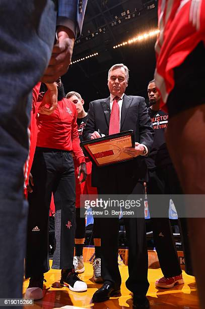 Mike D'Antoni of the Houston Rockets coaches against the Los Angeles Lakers on October 26 2016 at STAPLES Center in Los Angeles California NOTE TO...
