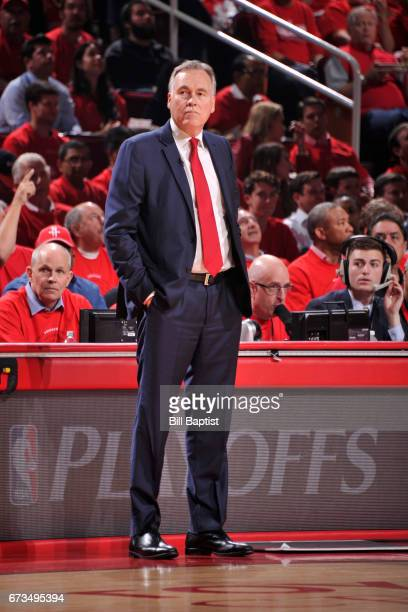 Mike D'Antoni of the Houston Rockets coaches against the Oklahoma City Thunder in Game Five of the Western Conference Quarterfinals of the 2017 NBA...