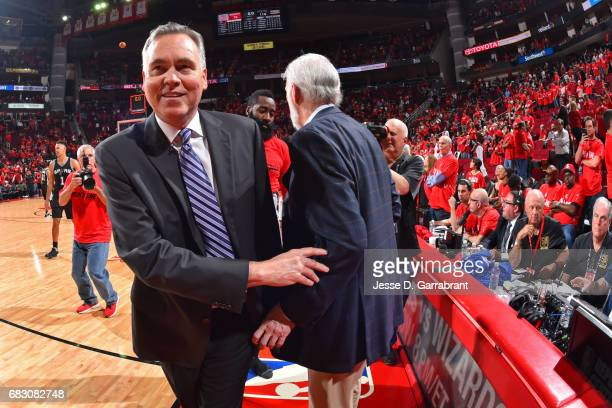 Mike D'Antoni of the Houston Rockets greets Gregg Popovich of the San Antonio Spurs after Game Six of the Western Conference Semifinals during the...