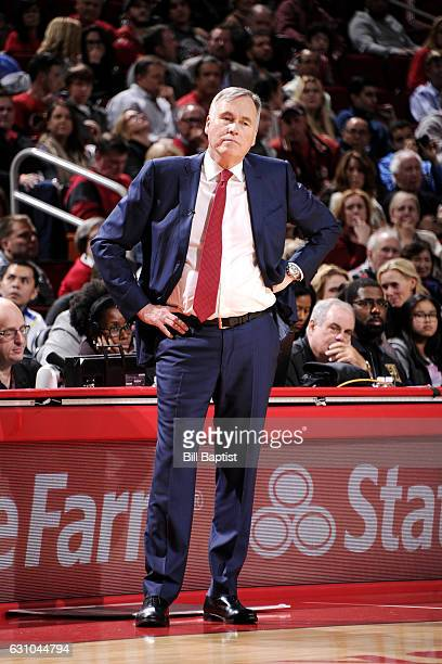 Mike D'Antoni of the Houston Rockets looks on during the game against the Oklahoma City Thunder on January 5 2017 at the Toyota Center in Houston...
