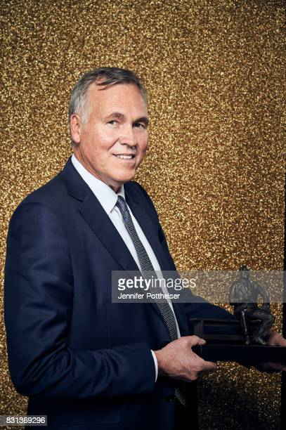 Mike D'Antoni of the Houston Rockets poses for a portrait after winning the Coach of the Year award at the NBA Awards Show on June 26 2017 at...