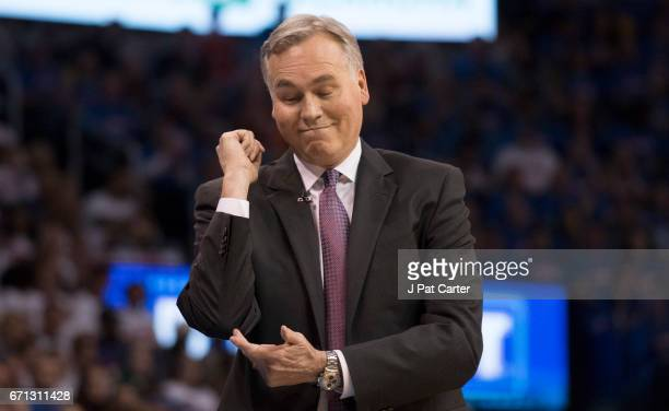Mike D'Antoni of the Houston Rockets reacts after the Oklahoma City Thunder are charged with a foul during the first half of Game Three in the 2017...