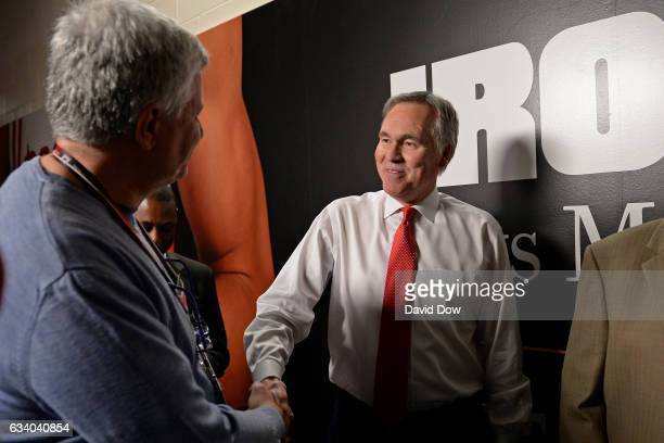 Mike D'Antoni of the Houston Rockets shakes hands after the game against the Chicago Bulls on February 3 2017 at the Toyota Center in Houston Texas...