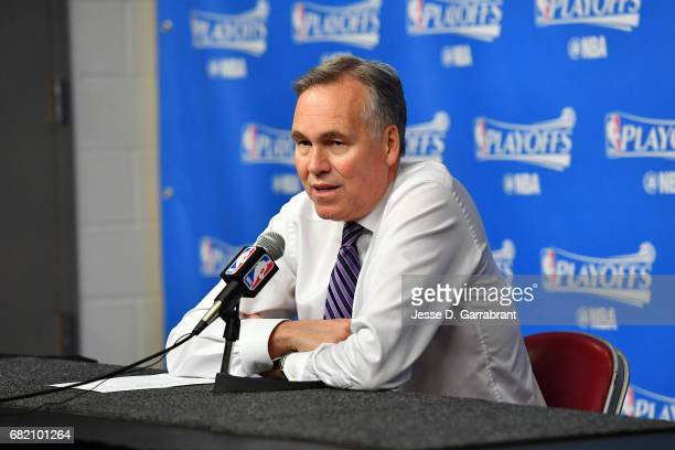 Mike D'Antoni of the Houston Rockets talks with the press after the game against the San Antonio Spurs during Game Six of the Western Conference...