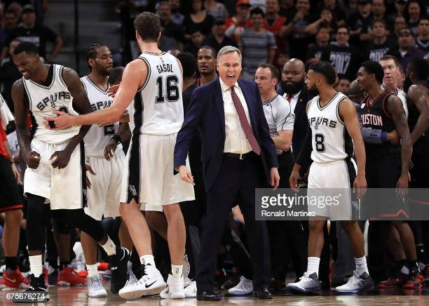 Mike D'Antoni of the Houston Rockets yells after players were shoved during Game One of the NBA Western Conference SemiFinals against the San Antonio...