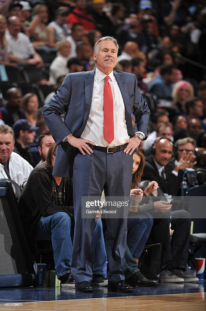<a gi-track='captionPersonalityLinkClicked' href=/galleries/search?phrase=Mike+D%27Antoni&family=editorial&specificpeople=203175 ng-click='$event.stopPropagation()'>Mike D'Antoni</a> of the Los Angeles Lakers calls a play from the bench during the game against the Denver Nuggets on November 13, 2013 at the Pepsi Center in Denver, Colorado.