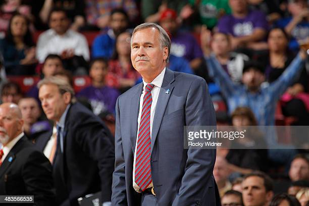 Mike D'Antoni of the Los Angeles Lakers coaches against the Sacramento Kings on April 2 2014 at Sleep Train Arena in Sacramento California NOTE TO...