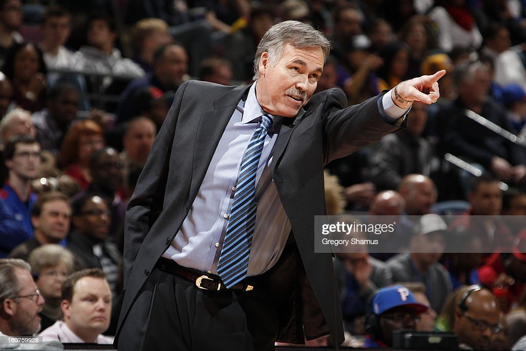 <a gi-track='captionPersonalityLinkClicked' href=/galleries/search?phrase=Mike+D%27Antoni&family=editorial&specificpeople=203175 ng-click='$event.stopPropagation()'>Mike D'Antoni</a> of the Los Angeles Lakers during the game against the Detroit Pistons on February 3, 2013 at The Palace of Auburn Hills in Auburn Hills, Michigan.
