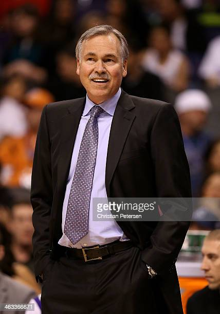 Mike D'Antoni of the Los Angeles Lakers during the NBA game against the Phoenix Suns at US Airways Center on January 15 2014 in Phoenix Arizona The...