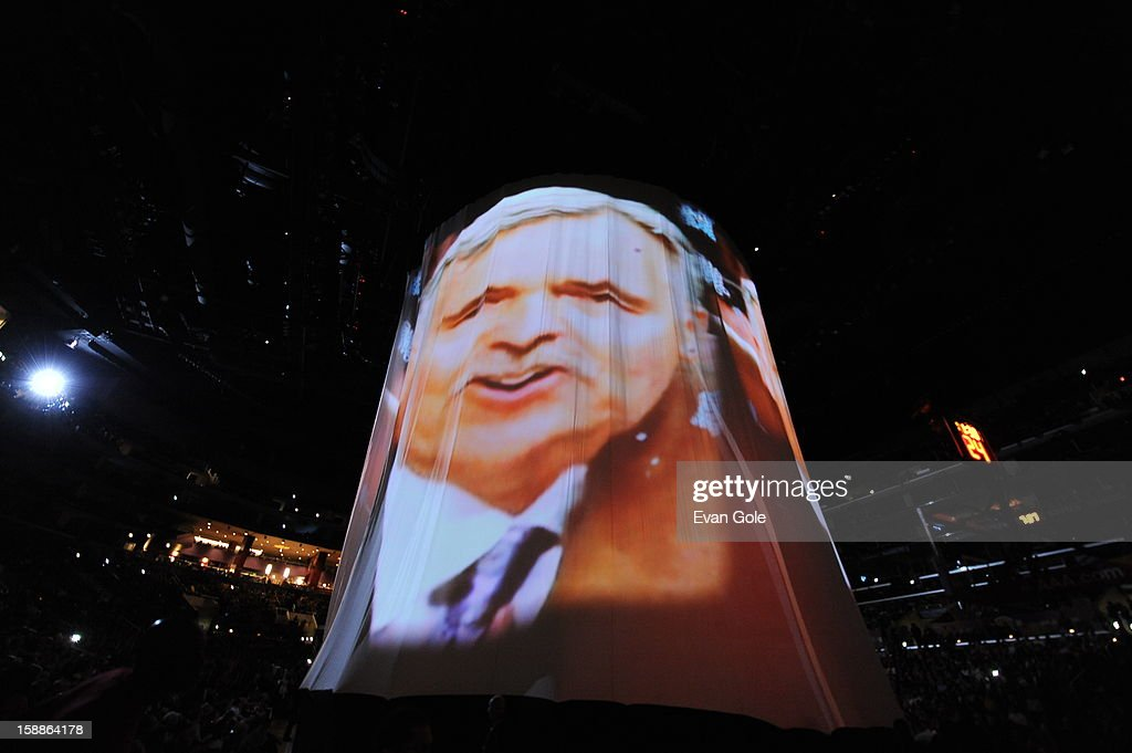 Mike D'Antoni of the Los Angeles Lakers is seen in a video montage on display during the game between the Philadelphia 76ers and the Los Angeles Lakers at Staples Center on January 1, 2013 in Los Angeles, California.