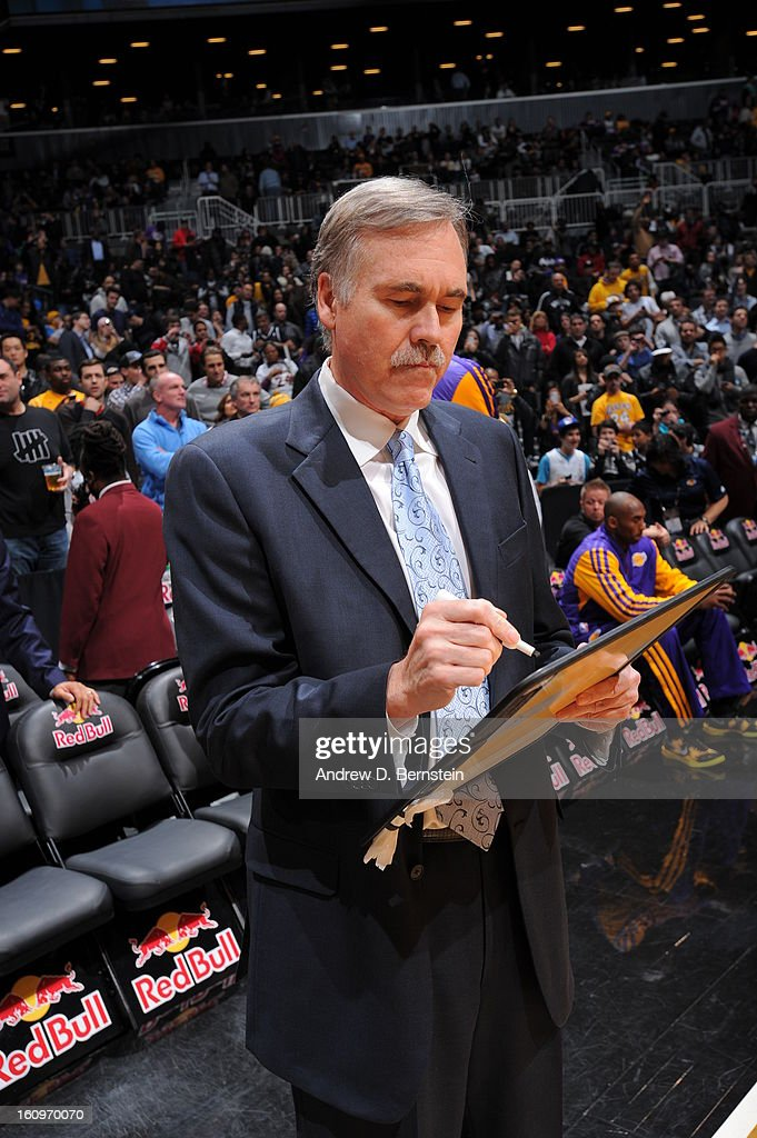 <a gi-track='captionPersonalityLinkClicked' href=/galleries/search?phrase=Mike+D%27Antoni&family=editorial&specificpeople=203175 ng-click='$event.stopPropagation()'>Mike D'Antoni</a> of the Los Angeles Lakers prepares for the game against the Brooklyn Nets on February 5, 2013 at the Barclays Center in the Brooklyn borough of New York City.
