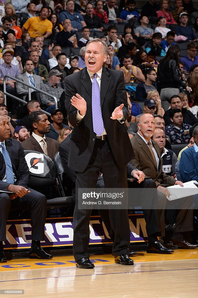 <a gi-track='captionPersonalityLinkClicked' href=/galleries/search?phrase=Mike+D%27Antoni&family=editorial&specificpeople=203175 ng-click='$event.stopPropagation()'>Mike D'Antoni</a> of the Los Angeles Lakers reacts against the Detroit Pistons at Staples Center on November 17, 2013 in Los Angeles, California.