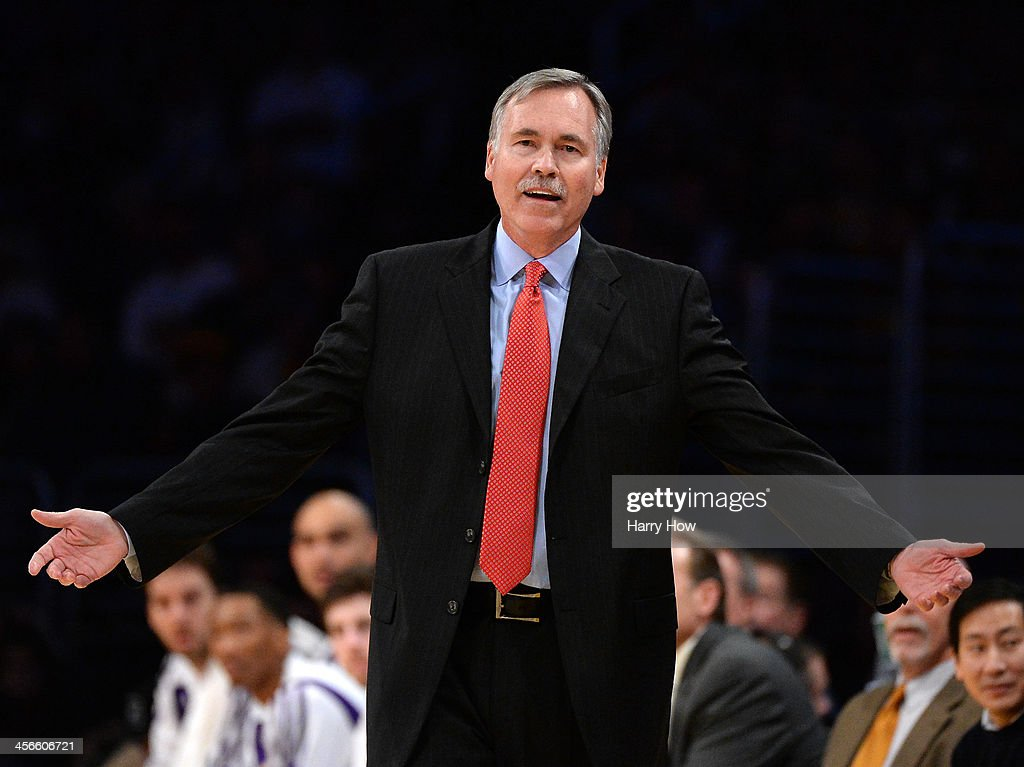 <a gi-track='captionPersonalityLinkClicked' href=/galleries/search?phrase=Mike+D%27Antoni&family=editorial&specificpeople=203175 ng-click='$event.stopPropagation()'>Mike D'Antoni</a> of the Los Angeles Lakers reacts to a call during the game against the Toronto Raptors at Staples Center on December 8, 2013 in Los Angeles, California.