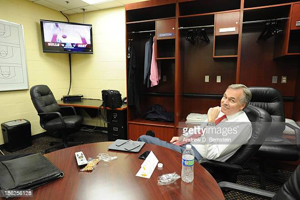 Mike D'Antoni of the Los Angeles Lakers sits in his office before a game against the Los Angeles Clippers at Staples Center on October 29 2013 in Los...