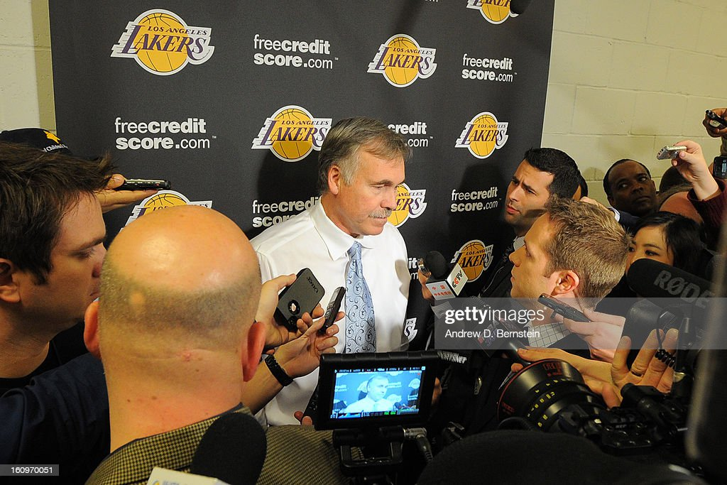 Mike D'Antoni of the Los Angeles Lakers speaks with the media before the game against the Brooklyn Nets on February 5, 2013 at the Barclays Center in the Brooklyn borough of New York City.