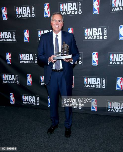 Mike D'Antoni poses in the press room at the 2017 NBA Awards at Basketball City Pier 36 South Street on June 26 2017 in New York City
