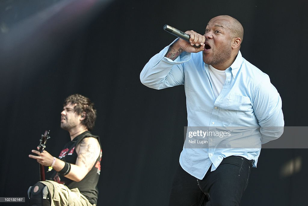 Mike D'Antonio and Howard Jones of Killswitch Engage perform on stage on the first day of the Download Festival at Donington Park on June 11, 2010 in Derby, England.