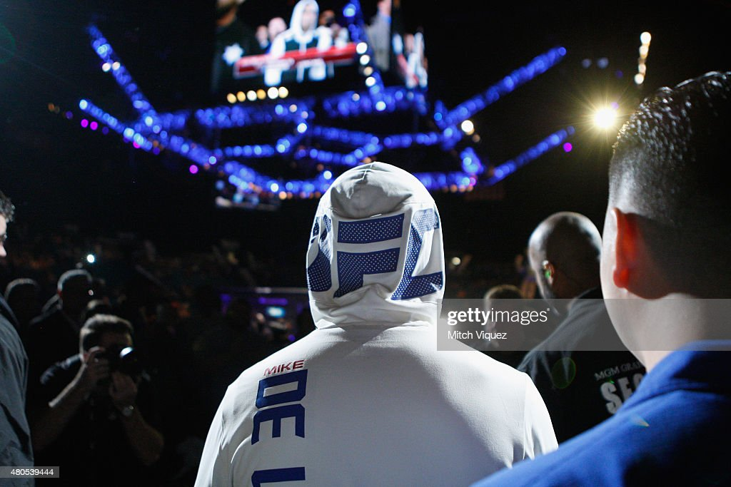 Mike De La Torre enters the arena for his fight against Maximo Blanco in their featherweight bout during the Ultimate Fighter Finale inside MGM Grand Garden Arena on July 12, 2015 in Las Vegas, Nevada.