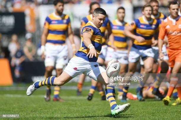 Mike Delany of Bay of Plenty kicks during the round nine Mitre 10 Cup match between Bay of Plenty and Waikato at Tauranga Domain on October 14 2017...