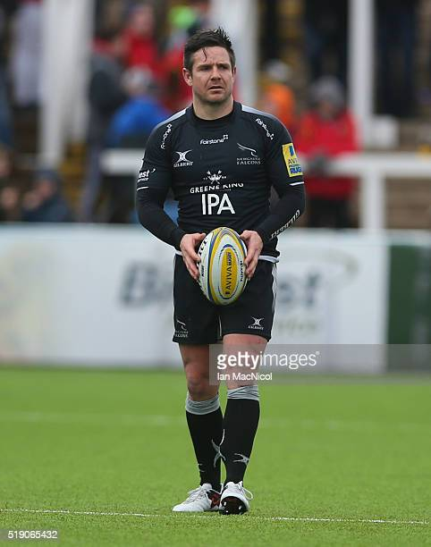 Mike Delany of Newcastle Falcons prepares to kick the ball during the Aviva Premiership match between Newcastle Falcons and Wasps at Kingston Park on...
