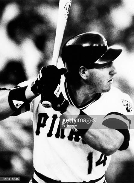 Mike Diaz of the Pittsburgh Pirates bats during an MLB game circa 1987 at Three Rivers Stadium in Pittsburgh Pennsylvania