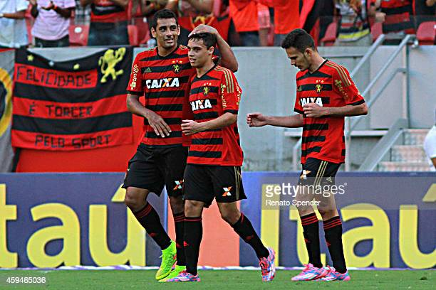 Mike Diego Souza and Rene of Sport Recife celebrates his goal during the Brasileirao Series A 2014 match between Sport Recife and Fluminense at Arena...