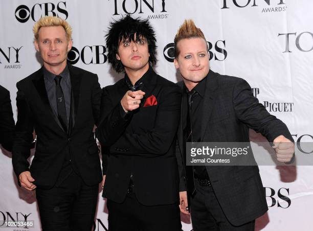 Mike Dirnt Billie Joe Armstrong and Tre Cool attend the 64th Annual Tony Awards at Radio City Music Hall on June 13 2010 in New York City