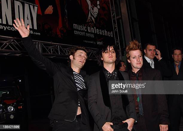 Mike Dirnt Billie Joe Armstrong and Tre Cool of Green Day