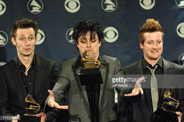 Mike Dirnt Billie Joe Armstrong and Tre Cool of Green Day winner Record Of The Year for 'Boulevard Of Broken Dreams'